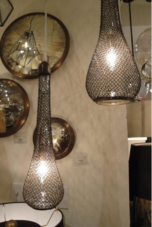 Pierce Large Brass & Glass Pendant Light