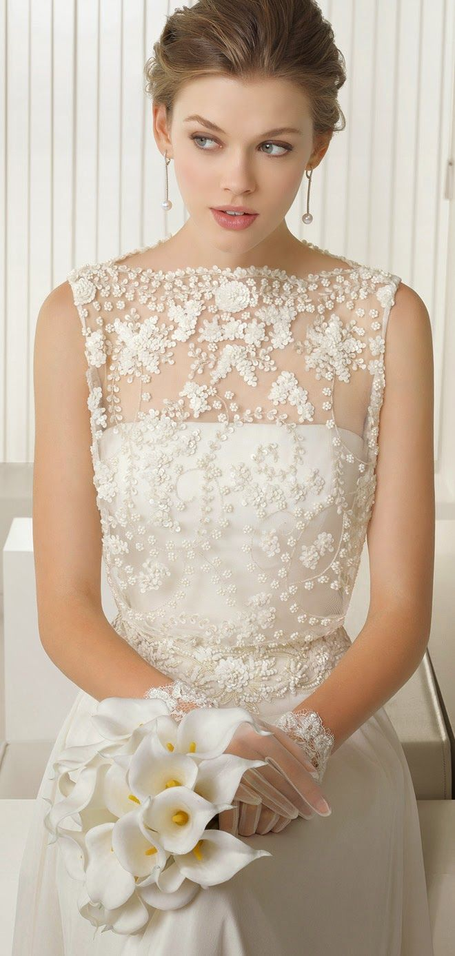 If you want a different look - check this out. The neck is square - nice! Rosa Clara 2015 Bridal Collection | bellethemagazine.com