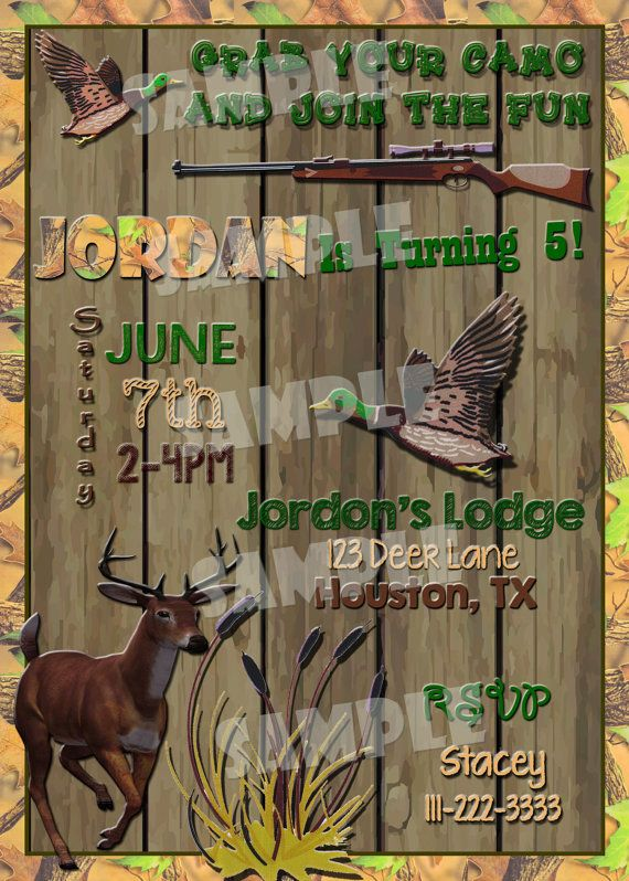 Printable HUNTING BIRTHDAY INVITATION