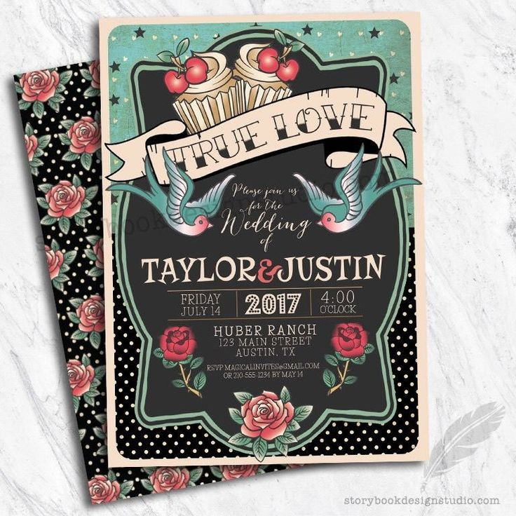 Lovely Rockabilly Wedding Invitations / 50u0027s Theme Set Of 10 PRINTED