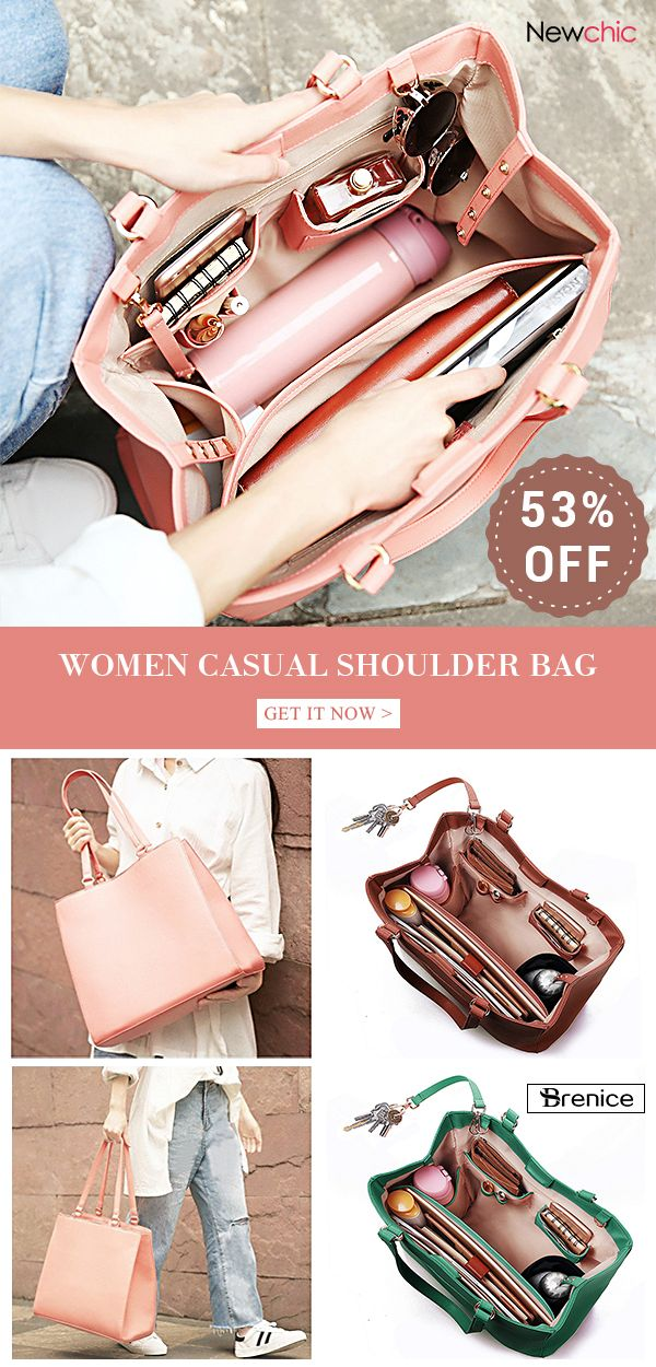 6a289e83777 Women Casual Handbag Solid Shopping Shoulder Bag #bags #handbags ...
