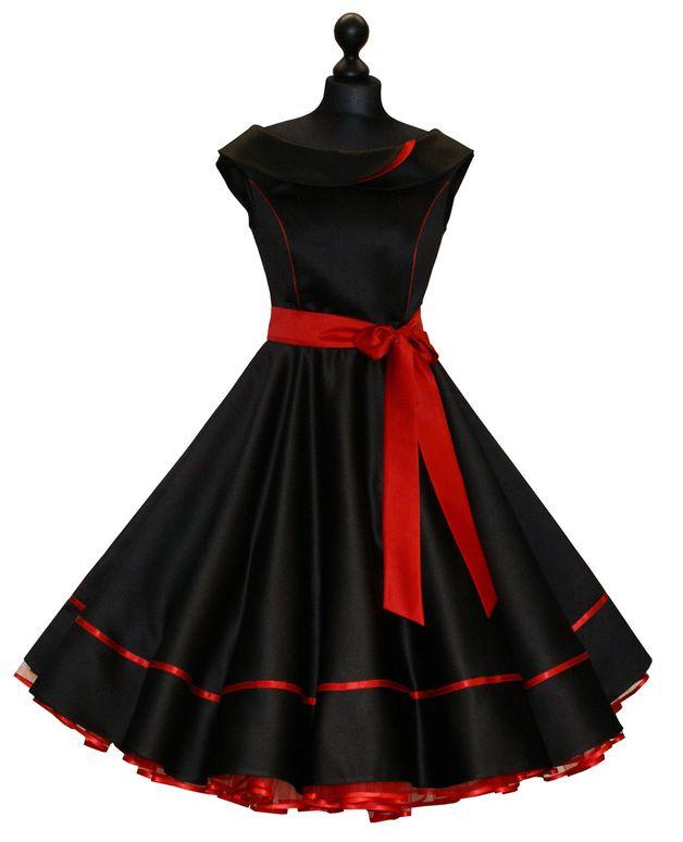 Pýchavka - 50 černá spodnička šaty červené večerní šaty - návrhář kus Charlott-ateliéru na DaWanda