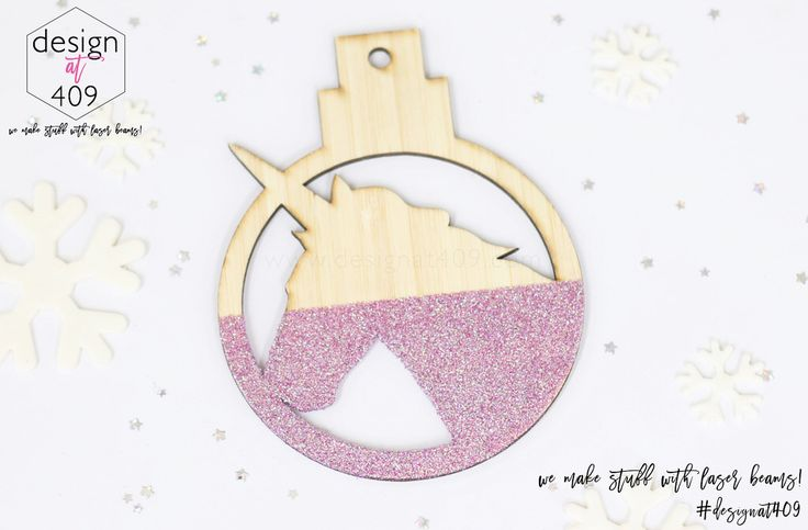 Unicorn Christmas Tree Bauble : Bamboo With Glitter : Design at 409