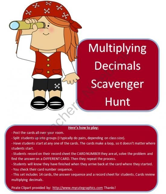 Multiplying Decimals Scavenger Hunt from AmyCakesLearning on TeachersNotebook.com -  (10 pages)  - A scavenger hunt for multiplying decimals. Tied to common core standards 5.NBT.B.7 and 6.NS.B.3.