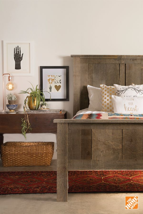 Make your bedroom the coziest space in your home. A barn board bed frame will add the warmth you need. Learn more at homedepot.ca.