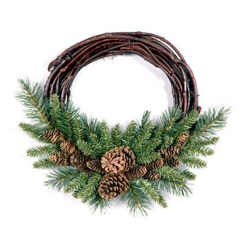 "National Tree Co. 16"" Pine Cone Grapevine Wreath"