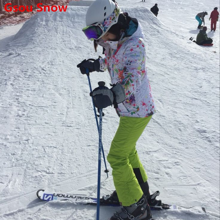 Cool Gsou Snow ski jacket women snowboard jacket and pants  ski suit female womens veste de ski femme jas vrouwen