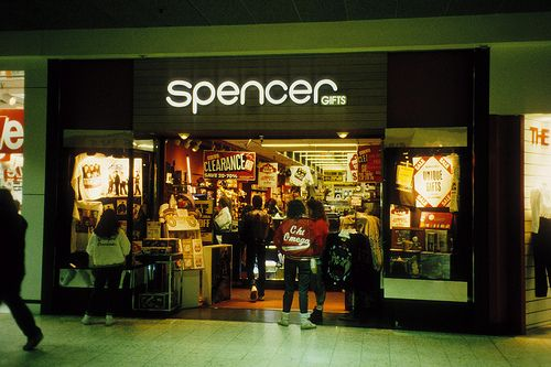 Spencers Gifts - Saturday mall days with the unlucky one standing in front of the store