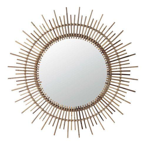 Miroir rond en bambou h 90 cm isis maisons du monde for Miroir rond bambou