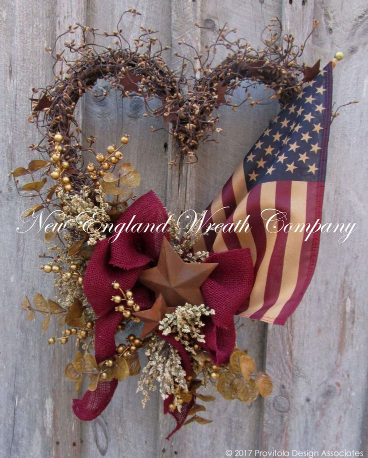 Americana Patriotic Heart Wreath with Tea Stained …