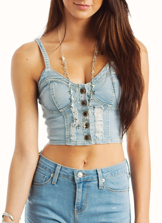 Babe Nation Denim Bustier cuz your tribe alwayz looks fine AF! Flirt it up in this sexxy strapless crop top that has dope contrast stitch details and a back zip closure.