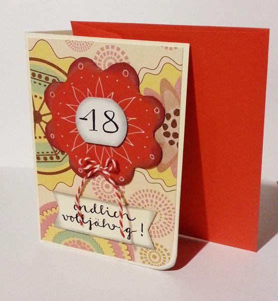 Glückwunschkarten - Geburtstagskarte zum 18. !!! Endlich volljährig - ein Designerstück von POMMPLA bei DaWanda