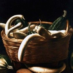 Cesta con zucche verdi e zucche bianche trombetta, pittore caravaggesco