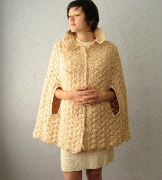 reserved vintage honey crocheted cape crochet favorites. Black Bedroom Furniture Sets. Home Design Ideas