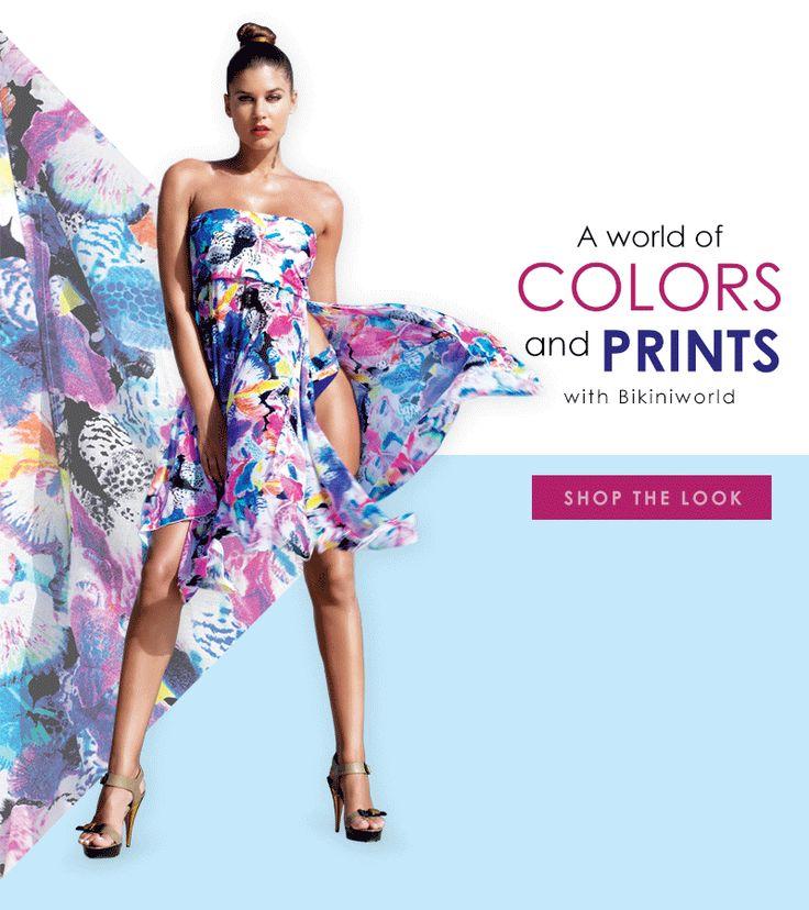 A world of colors and prints with #Bikiniworld #fashion #look #fleur #shoponline