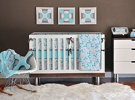 modern crib bedding set allows you to bring your sense of style right into the nursery! This crib set offers you stylish, modern baby bedding designs that providing a much needed update to traditional baby bedding, The perfect blend of sweetness and sophistication. Crib set includes slip-covered bumper pads, comforter, minky fitted sheet and tailored crib skirt. Only the finest materials, including heavenly soft minky for bumper pads and crib sheets