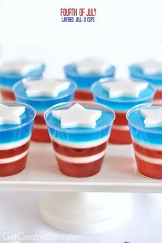 4th of July Recipes - Red White and Blue Jello (Dairy Free - white layer made with coconut milk)