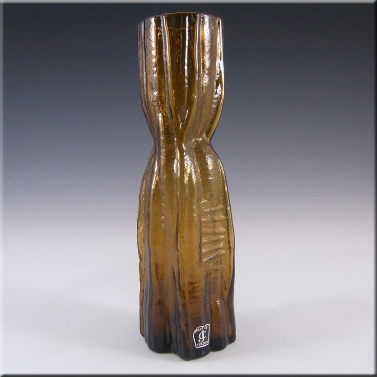 Lindshammar Swedish Amber Textured Glass Vase - Labelled - £35.99