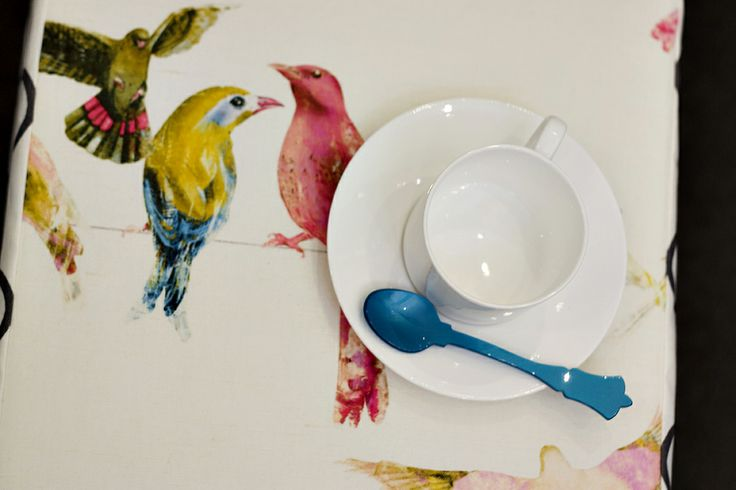 Chivasso fabric and Sabre spoon. dressing the tables at the afternoon tea at the Melbourne design studio of Beautiful Room in support of the NBCF. www.beautifulroom.com.au