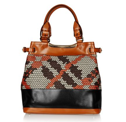 Burberry Prorsum - Leather and raffia tote