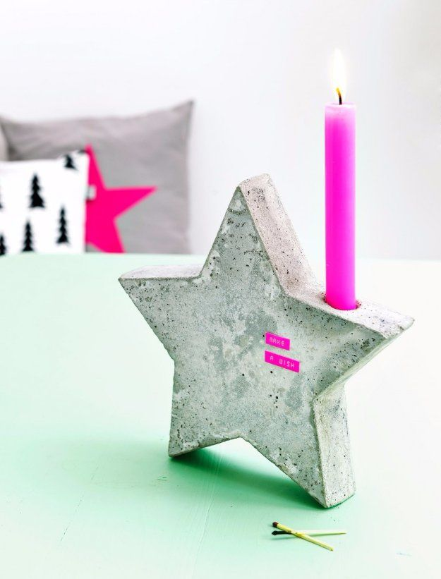43 DIY concrete crafts - Star Candle Holder - Cheap and creative projects and tutorials for countertops and ideas for floors, patio and porch decor, tables, planters, vases, frames, jewelry holder, home decor and DIY gifts.  http://diyjoy.com/diy-concrete-crafts-projects