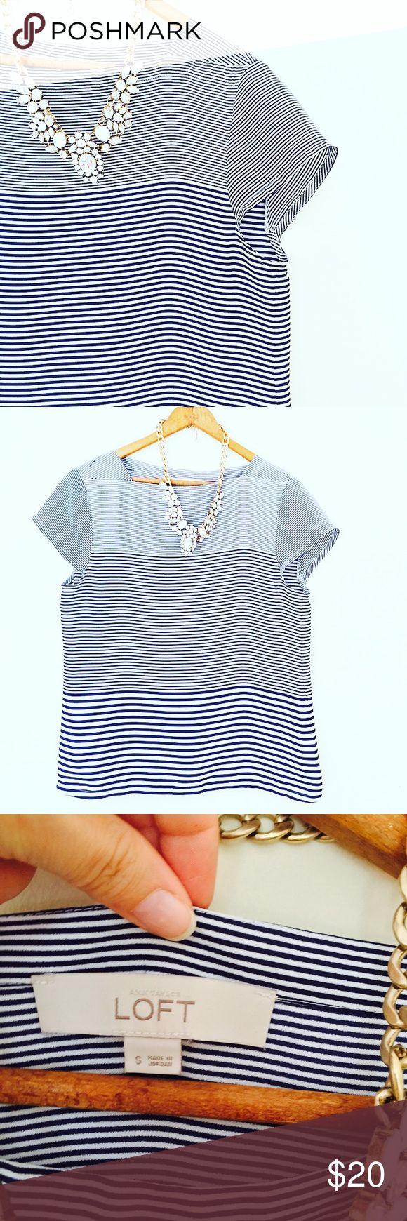 LOFT Nautical Blouse Blue and white nautical blouse. Small cap sleeve and it looks wide but is not when it is on! LOFT Tops Blouses