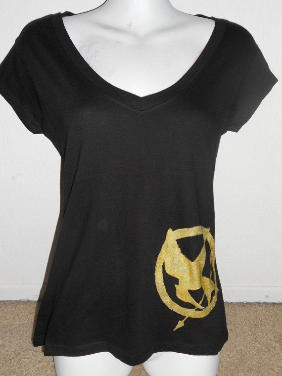 The Hunger Games Mockingjay vneck shirt by Stitch3d on Etsy, $17.00