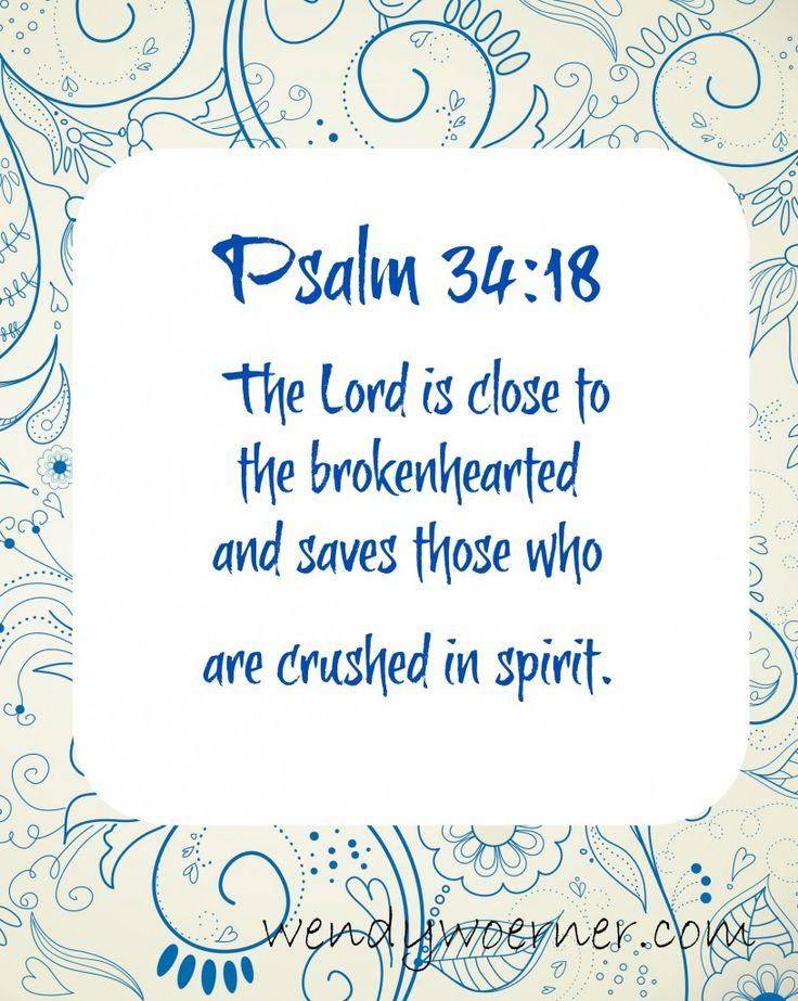 Scripture to Encourage the Broken-Hearted www.wendywoerner.com #encouragement #faith #freeprintable