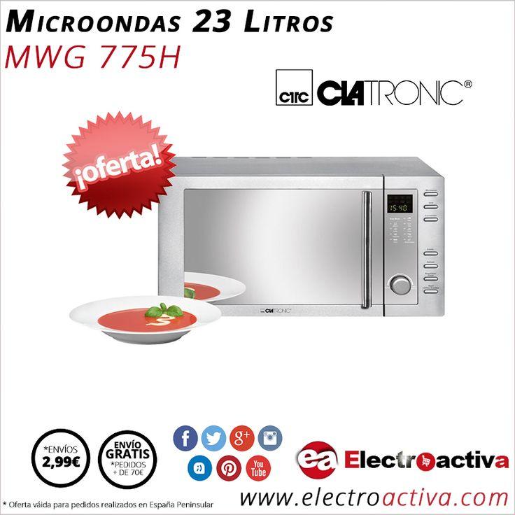 ¡Cocina de forma sana y rápida con el mínimo esfuerzo! Microondas con Grill 23 Litros CLATRONIC MWG 775 H http://www.electroactiva.com/clatronic-microondas-23-litros-grill-c-mwg775h.html #Elmejorprecio #Microondas #Electrodomesticos #PymesUnidas