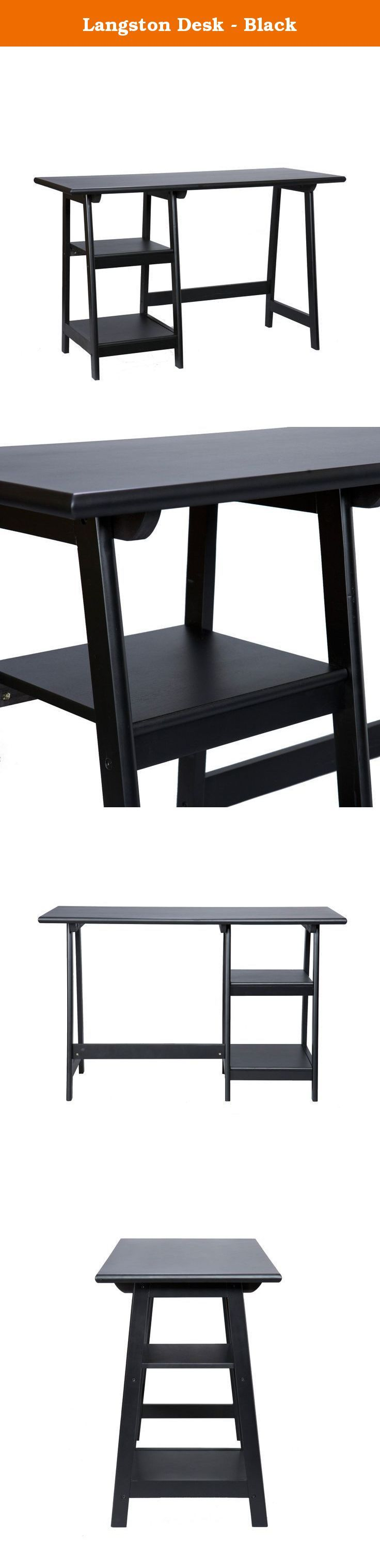 Langston Desk - Black. Crafted with simplicity in mind, this black sawhorse desk has a stylistic expression all its own. The broad work space features a comfortable, rounded edge. The frame is built with durable hardwood legs in an A-frame shape. The left side of this universal writing desk features two sturdy shelves to store accessories or display trinkets. In the home office or living room, this modern farmhouse styled desk is sure to get compliments. This wonderful piece also features…