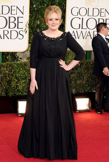 Adele wore a Burberry dress and Cartier jewelry at the 2013 Golden Globes.