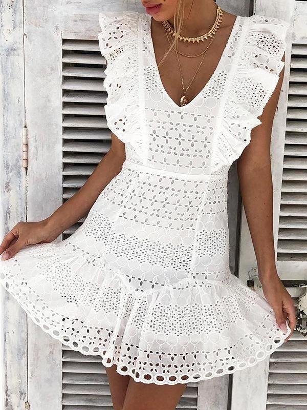 acb03f72ef900 2019 的 Elegant Cotton Embroidery Ruffled White Mini Dress ...