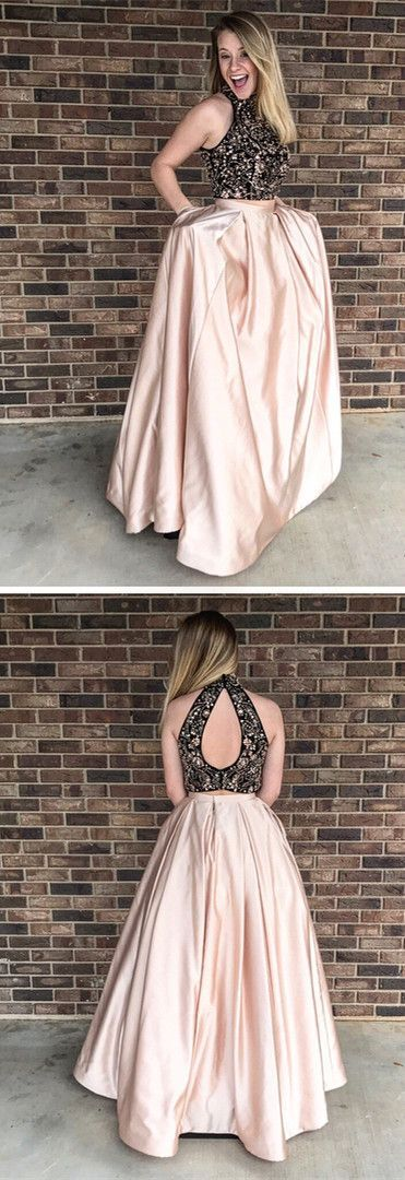 Two Pieces O-Neck A-Line Prom Dresses,Long Prom Dresses,Green Prom Dresses, Evening Dress Prom Gowns, Formal Women Dress,Prom Dress