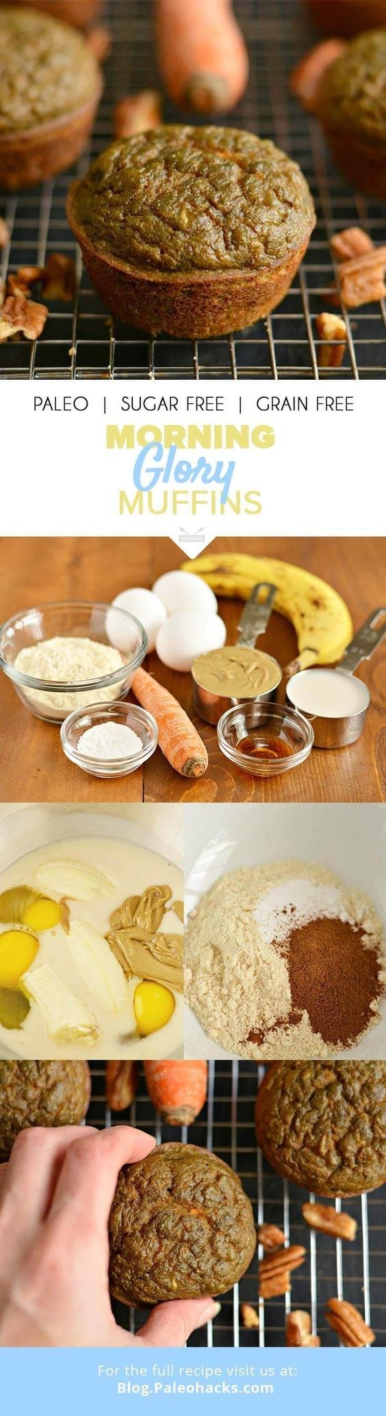 Paleo Morning Glory Muffins are loaded with carrots, bananas, and creamy sunflower butter. A grain, dairy, and nut-free snack, and it has no added sugar! Get the recipe here: http://paleo.co/morningglorymuffin