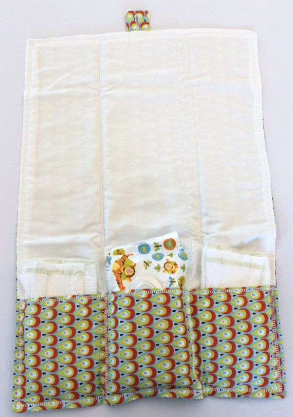 """Changing Pad and Diaper Clutch   17""""x24"""" with 3 pockets for diaper and wipes  folds to 6""""x10"""