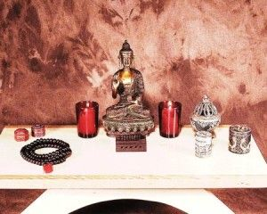 Meditation Table Altar And Supplies