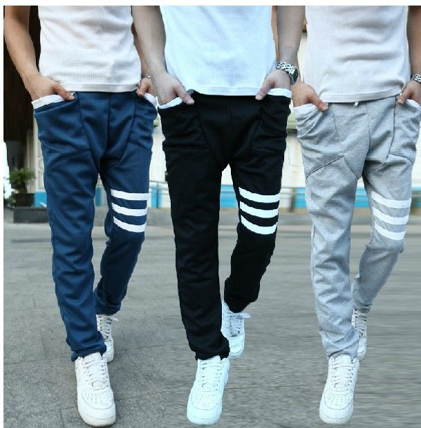 Free shipping korean style 2013 Autumn new men's slim casual trousers drop crotch pants mens hip hop harem sweatpants-in Pants from Apparel ...