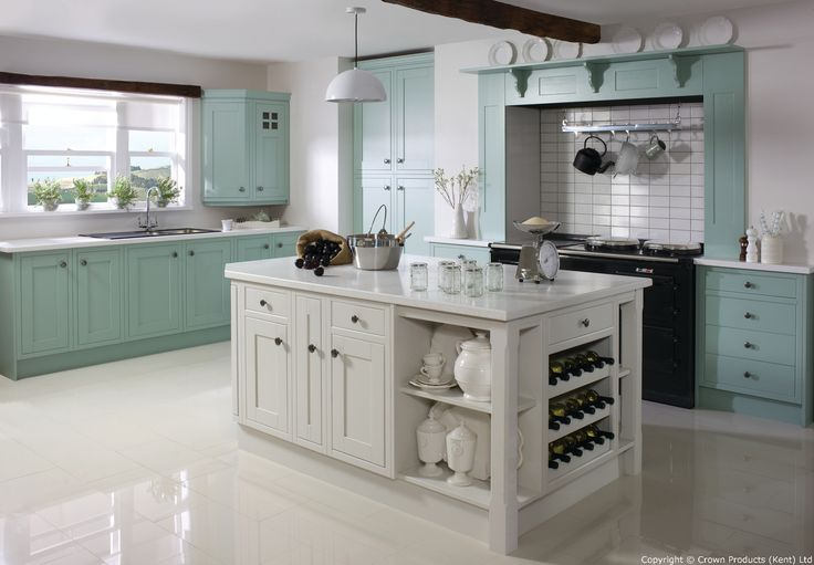 Academy Cotswood Traditional Farmhouse Kitchen in Off White & Grey Aqua