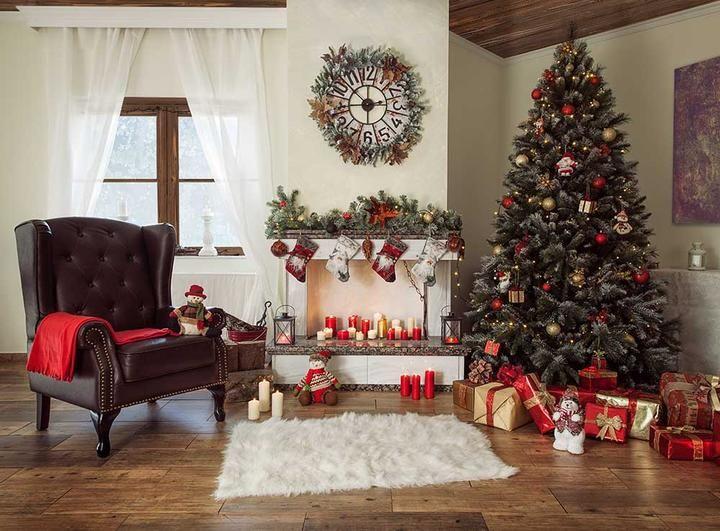 Christmas Holiday Backdrop With Chair Fireplace Wool Carpet Christmas Rugs Chic Christmas Decor Christmas Vinyl