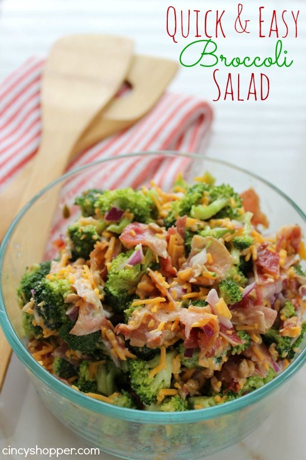 Quick and Easy Broccoli Salad Recipe. So good that even the teenagers ate this broccoli salad. Great for potlucks. YUM!