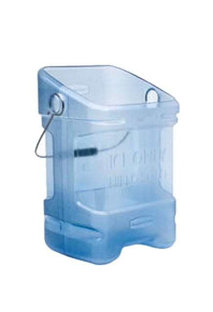 Ice tote: Ice Tote features an angled top surface and pouring spout to reduce spills.