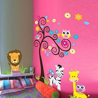 stickers muraux Stickers muraux de style, les arbres de hibou zèbre lion pvc animal stickers muraux de 3025083 2016 à €15.67