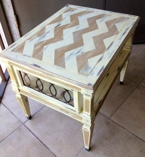 Shabby chic wooden end table with chevron pattern via Etsy - Beautiful, love the chevron contrasting the circular metal detail