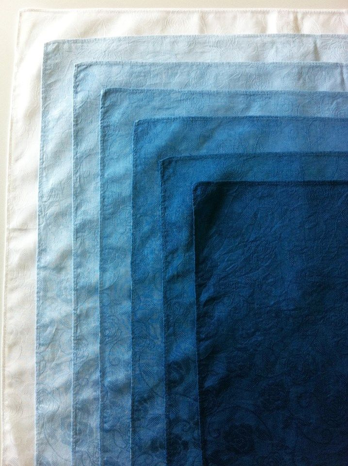 Japanese indigo dyeing #GISSLER - intensity of dye in the fabric in a graduated 'ombre' effect.