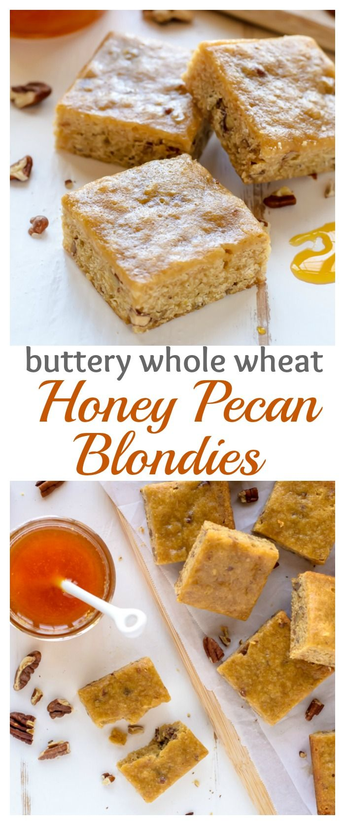 Pecan Blondies. Made with whole wheat flour, these healthy blondies ...
