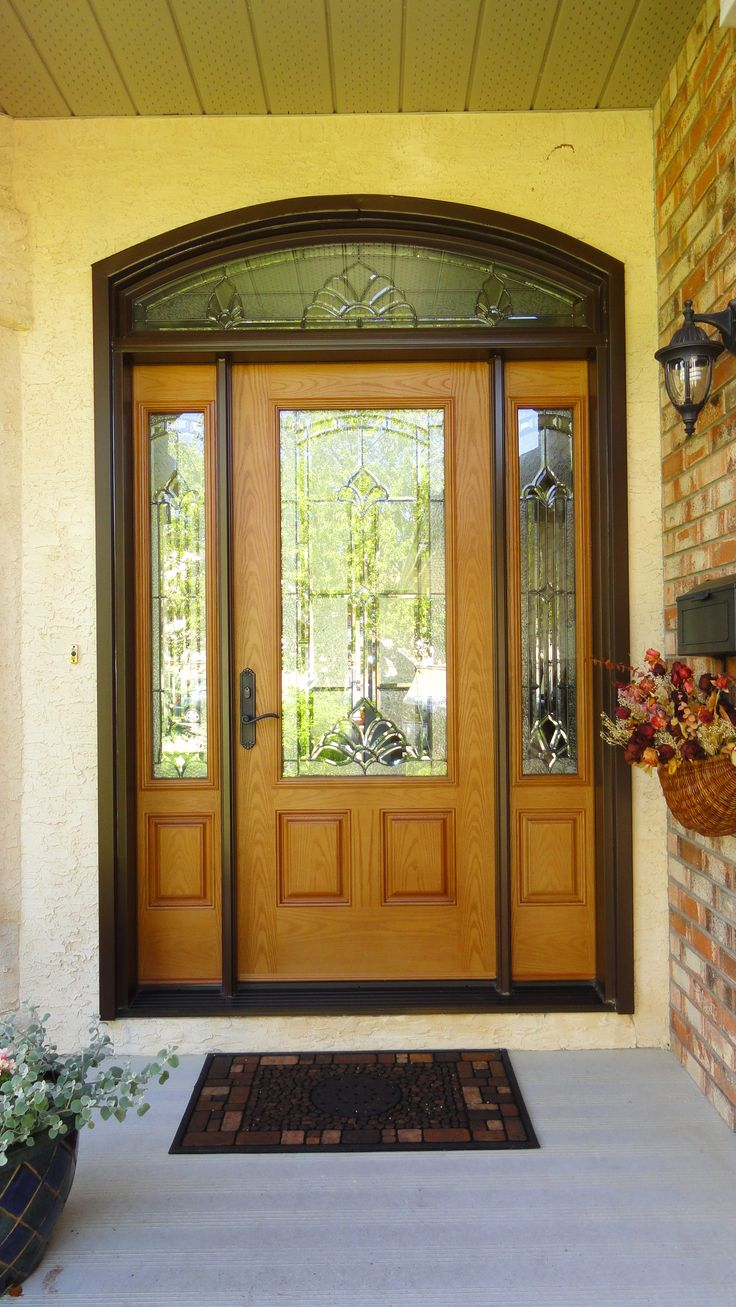 Marquise glass insert by masonite golden oak stained for Single front doors with glass