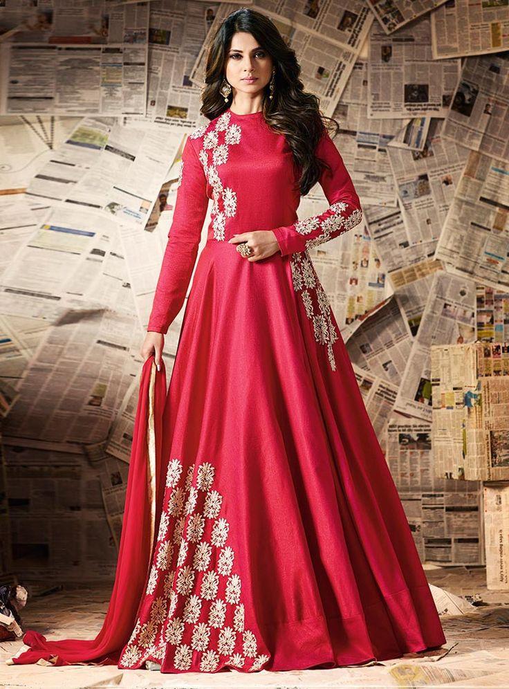 Jennifer Winget Red Silk Floor Length Anarkali Suit 86764