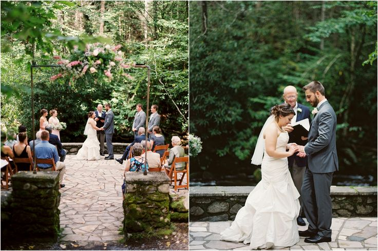 Mountain wedding at Spence Cabin in the Great Smoky Mountains - click to view more! #contax645 #filmphotographer