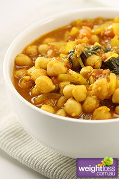 Curried Chickpea & Spinach Stew. #HealthyRecipes #CurryRecipes #WeightLoss #WeightlossRecipes weightloss.com.au