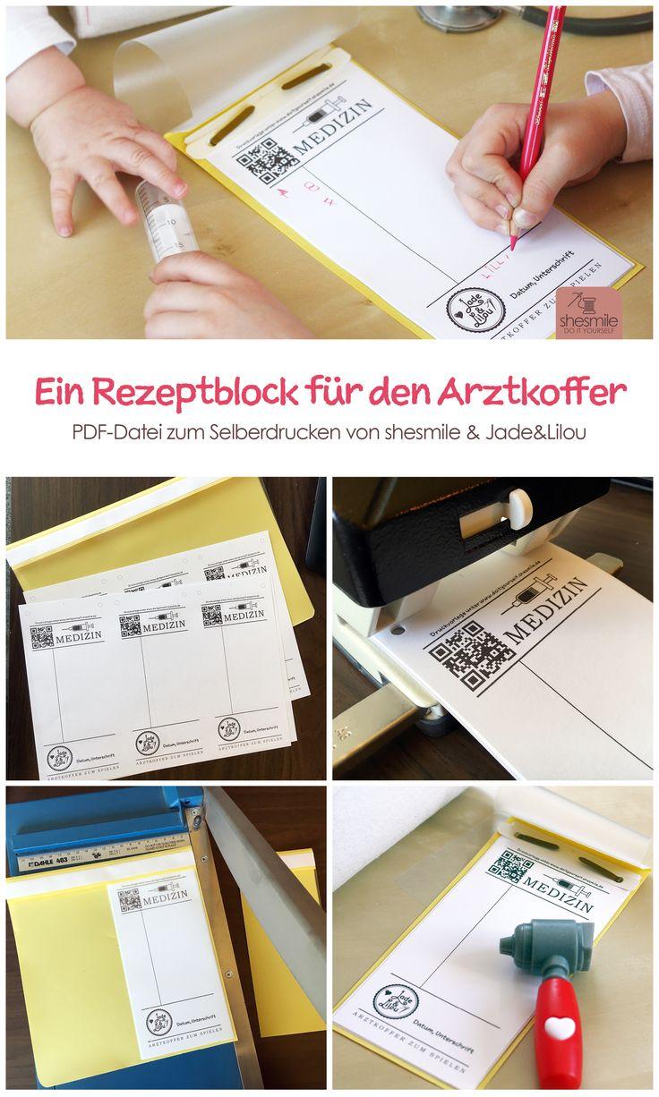 """Darf in keinem Arztkoffer zum Spielen fehlen! Ein """"echter"""" Medizin Rezeptblock. PDF-Druckvorlage und Bastelanleitung ganz einfach herunterladen. Eine Idee von Jade & Lilou. Gestaltet von shesmile."""